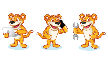 panthera: Leaopard Mascot Vector with phone, laptop and toools