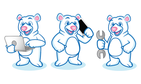 Polar Bear Mascot with laptop, phone and tools