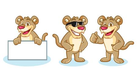 puma: Puma Mascot Vector happy, pose and bring board