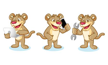 puma: Puma Mascot Vector with laptop, phone and tools