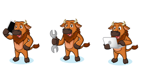 laptop mascot: Bison Mascot Vector with laptop, phone and tools