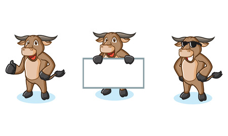 Buffalo Cream Mascot happy, pose and bring board Stock Vector - 55022750