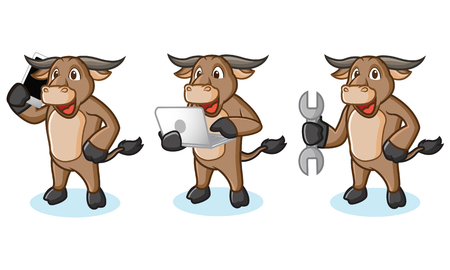 Buffalo Cream Mascot with phone, laptop and tools