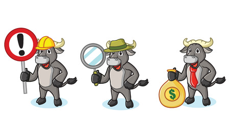 Buffalo Gray Mascot with sign, money and magnifying Stock Vector - 55022795