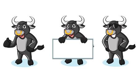 bullfighter: Bull Black Mascot happy, pose and bring board