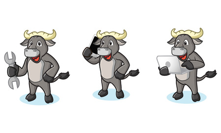 Buffalo Gray Mascot with laptop, phone and tools