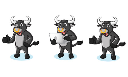 laptop mascot: Bull Black Mascot with laptop, pose and phone