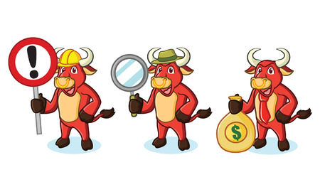 red bull: Bull Red Mascot with money, sign and magnifying Illustration