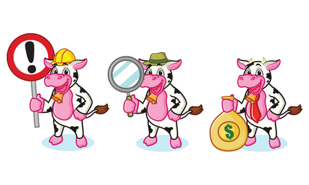 Cow and Bell with sign, money and magnifying Illustration
