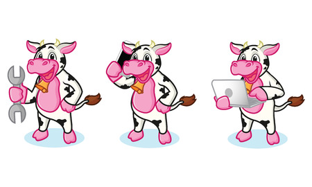 moo: Cow and Bell with laptop, phone and tools Illustration