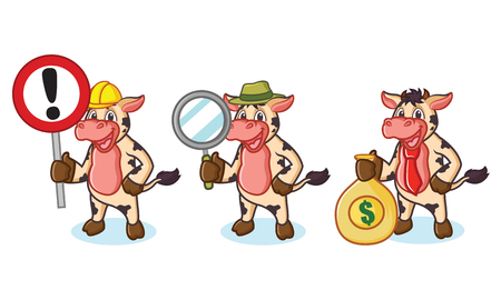 moo: Cow and Hair Mascot with money, sign and magnifying