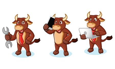 buey: La mascota de Brown buey con ordenador port�til, tel�fono y herramientas