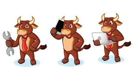 Ox Brown Mascot with laptop, phone and tools