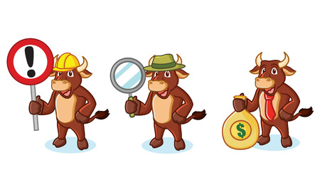 Ox Brown Mascot with money, sign and magnifying