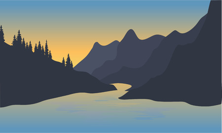 mountain view: View of big river and mountain silhouette