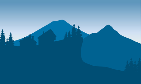 Silhouette of houese in hills with blue background