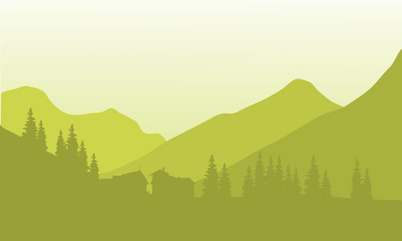 Silhouette of house below the mountain with green background Illustration