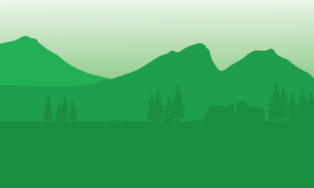 Silhouette of house with mountain background and green background Illustration