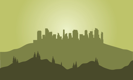 Silhouette of city on the hills with green background Ilustração