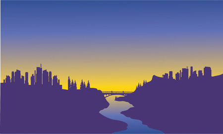 downtown district: Sunrise city on the river with purple background Illustration