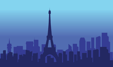 silhouette of eiffel and city with blue backgrounds