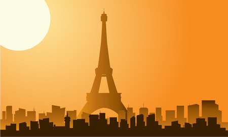 parisian: The Eiffel tower in Paris silhouette with moon Illustration