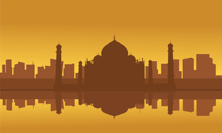 Silhouette of Taj Mahal and City