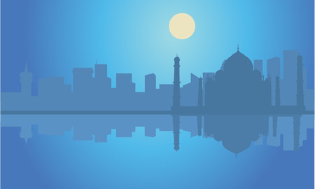 sunsets: Silhouette Taj Mahal  india at night with moon Illustration