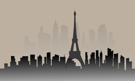 Silhouette of france city and eiffel tower with gray backgrounds