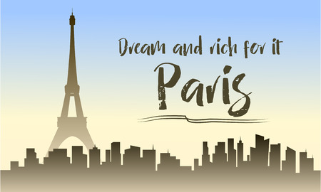Illustration of paris city and eiffel tower silhouette
