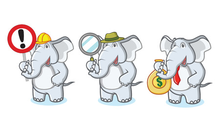 Gray Elephant Mascot with money, sign and magnifying