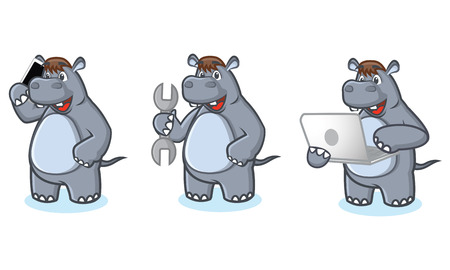 laptop mascot: Gray Hippo Mascot with phone, laptop and tools