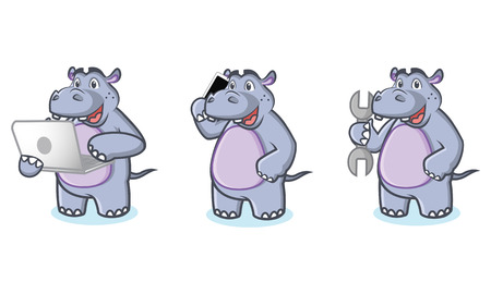 laptop mascot: Hippo Mascot Vector with laptop, phone and tools