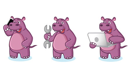 laptop mascot: Purple Hippo Mascot Vector with laptop, phone and tools