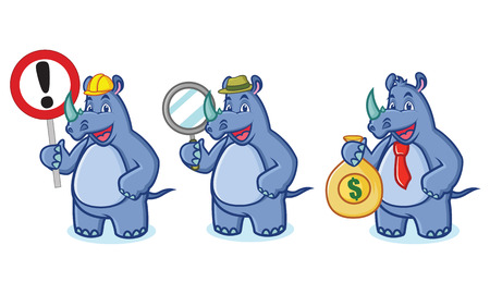 Blue Rhino Mascot Vector with money, sign and magnifying Illustration