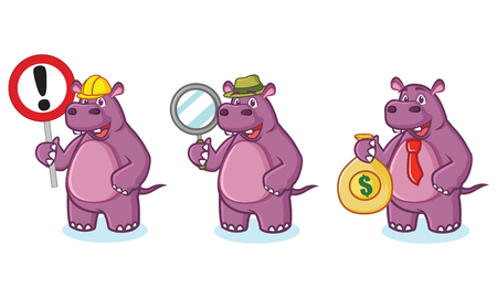 Purple Hippo Mascot Vector money, sign and magnifying Illustration