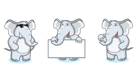 Grigio elefante mascotte felice, posa e portare a bordo Archivio Fotografico - 55366428