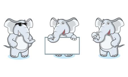 Gris Elephant Mascot heureux, pose et planche porter Banque d'images - 55366428