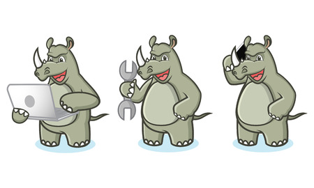 laptop mascot: Rhino Mascot Vector with laptop, phone and tools