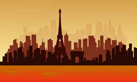 View of big city france silhouette with orange backgrounds Illustration