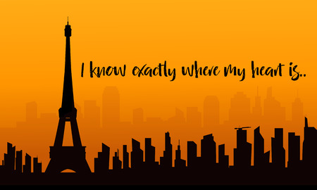 Illustration of eiffel tower silhouette with orange backgrounds