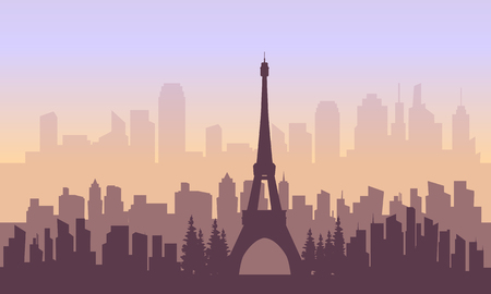 France city and eiffel tower of silhouette with purple backgrounds Illustration