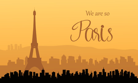 Silhouette of paris at sunset a very beautiful Illustration