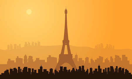 brown backgrounds: silhouette of paris city with brown backgrounds Illustration