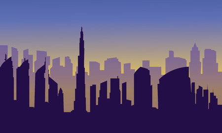 brook: Dubai city of silhouette at the afternoon