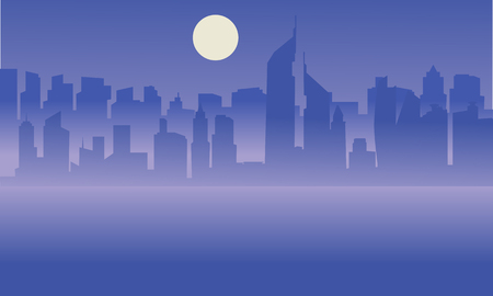brook: Silhouette of Dubai city with moon on the sea