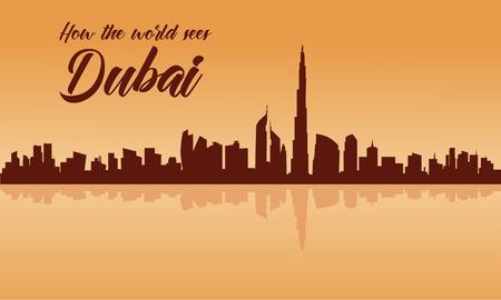 두바이 도시의 스카이 라인 실루엣 갈색 배경 및 반사 일러스트