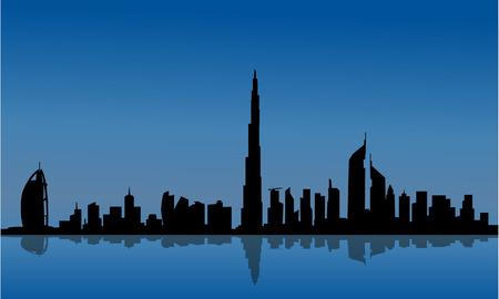 두바이 및 바다에 반사의 실루엣