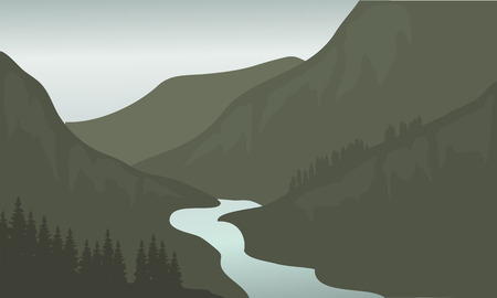 overlook: Silhouette of river in mountain with gray backgrounds