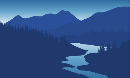 overlooking: Beautiful mountain landscape with the river at night Illustration